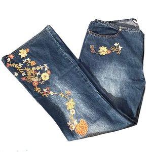 Joe Boxer Jeans Embellished Floral Boho Low Rise
